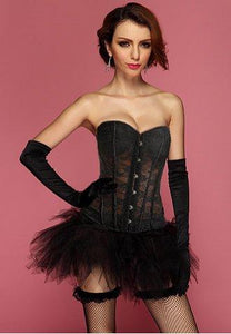 Strapless Black Lace Corset With Tutu Skirt.