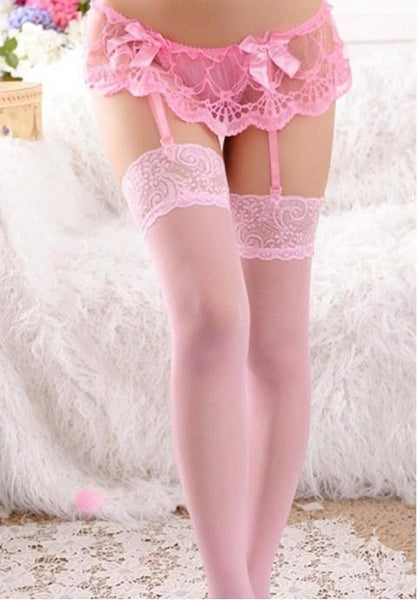 Lace Bowknot Garters G-string.