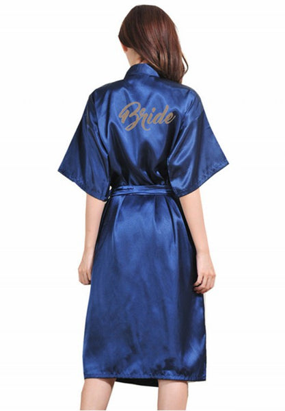 Women's Satin Kimono Robes For Bride Bridesmaid With Gold Glitter Wedding Party Bridal Shower.