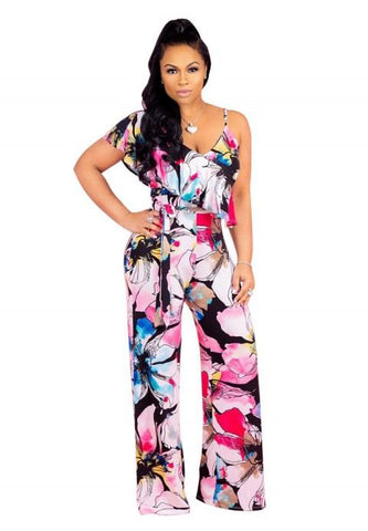 One Piece Sexy Floral Print Jumpsuit Rompers - Fashion Under Arrest