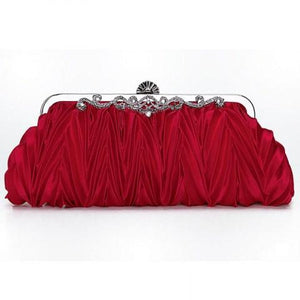 Satin Pleated Envelope Evening Cocktail Wedding Party Handbag Clutch.
