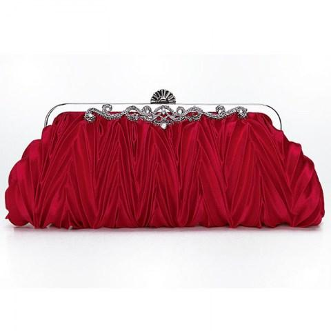 Satin Pleated Envelope Evening Cocktail Wedding Party Handbag Clutch - Fashion Under Arrest