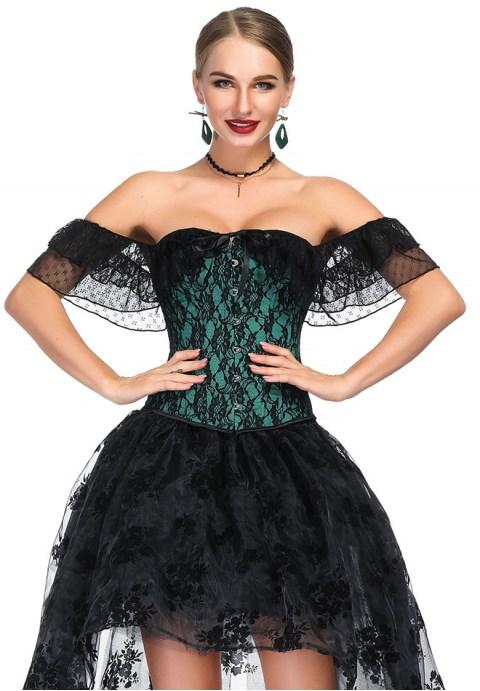 Sexy Flower Lace Corset With Off Shoulder Collar.