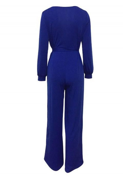 Long Sleeve Solid Jumpsuit With Belt