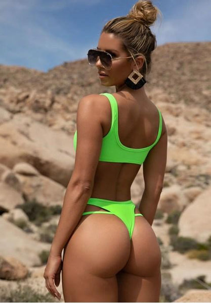 Ribbed High Leg Bikini Swimsuit.