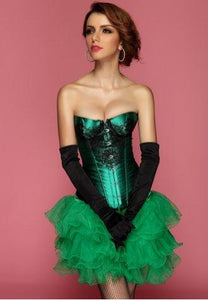 Green Classical Lace Overlay Corset - Fashion Under Arrest