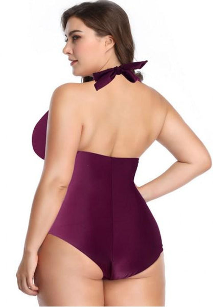 Plus Size High Neck One Piece Swimsuit.
