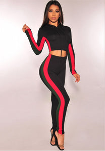 Women's Casual Sport Bodycon Crop Top Long Skinny Pant Set.