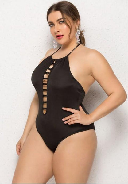Plus Size Solid Color One Piece Swimsuit.