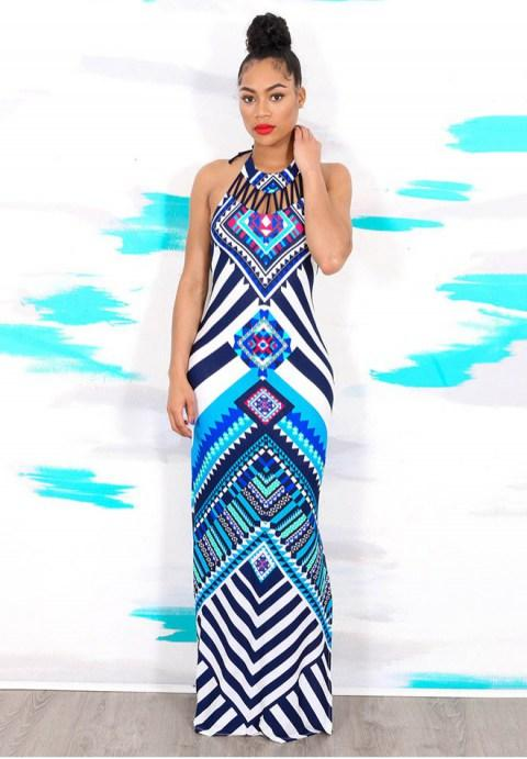 Tribal Print Halter Backless Slit Sexy Maxi Dress - Fashion Under Arrest
