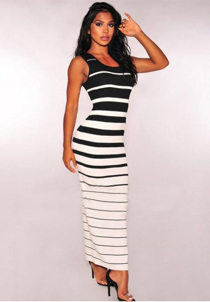 Black White Striped Button Down Slit Maxi Dress