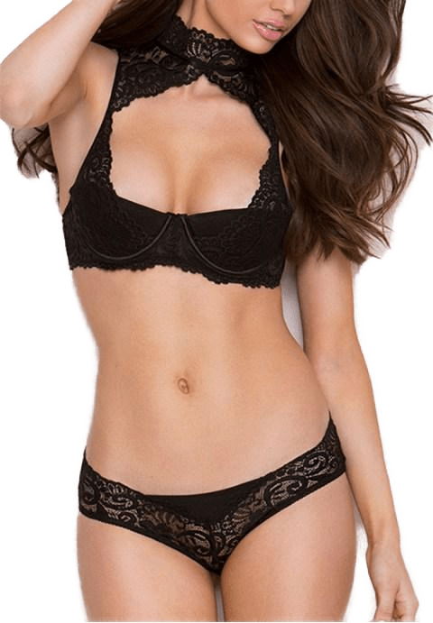 Black High Neck Lace Bra Set.