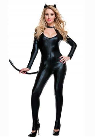 Women's Black Cat Fancy Costume.