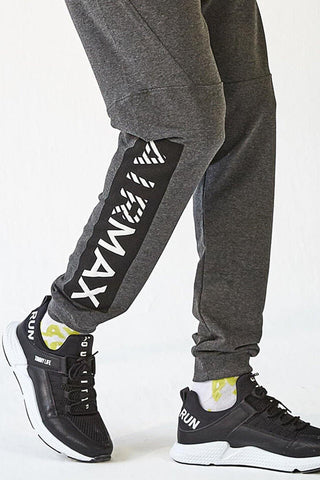 Men's Printed Anthracite Melange Sweatpants.