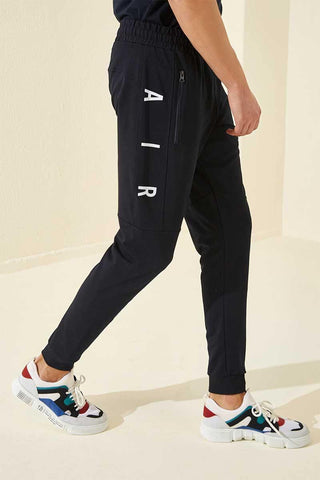 Men's Printed Navy Blue Sweatpants.