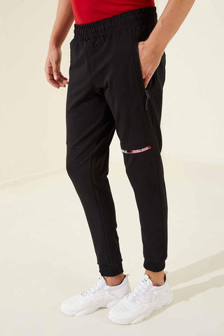 Men's Front Print Black Sweatpants.
