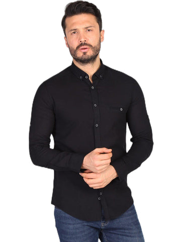 Men's Black Slim Fit Shirt.