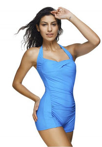 Women's Halter Neck One Piece Plain Colour Swimsuit