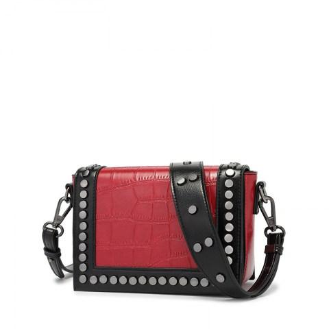 Women's PU Leather Rivet Cross-body Bag Shoulder Bag.