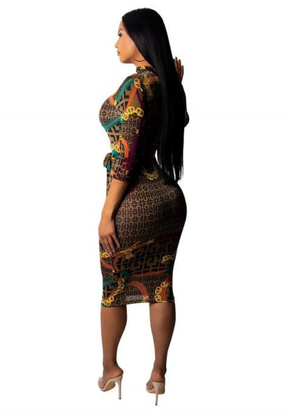Women's Pullover Print Long Sleeve Bodycon Dress.
