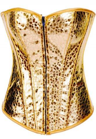 Striking Gold Burlesque Zipper Corset