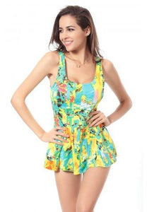 Sexy U Neck Yellow Floral Print Swimsuit
