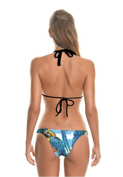 Parrots Printing Two-Pieces Bikini Swimsuit.