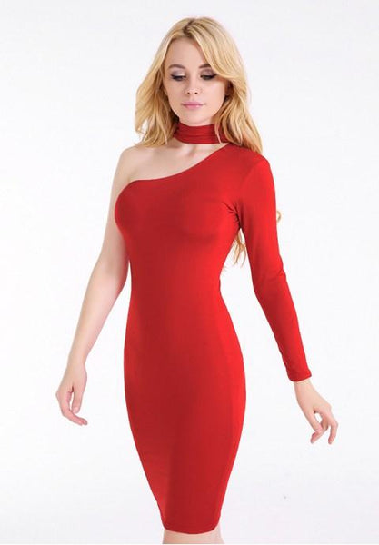 Women's Sexy Choker One Shoulder Long Sleeves Bodycon Party Clubwear Midi Dress - Fashion Under Arrest