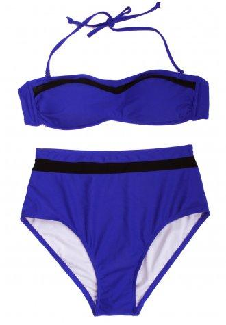 Sexy Royal Blue Bikini Swimwear with Bandeau Top and High-waist Bottom in Low Price - Fashion Under Arrest