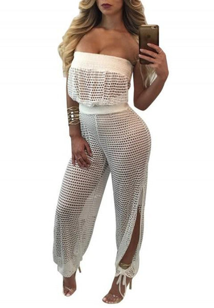 Netted Sleeveless Jumpsuit.
