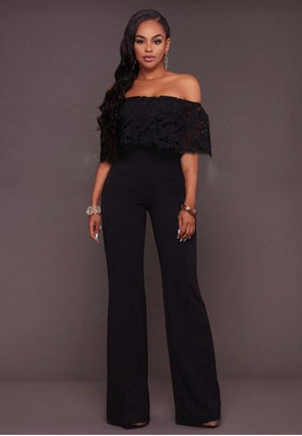Lace Top Strapless Jumpsuit - Fashion Under Arrest