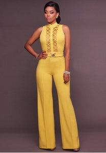 Mesh Accent Belted Jumpsuit