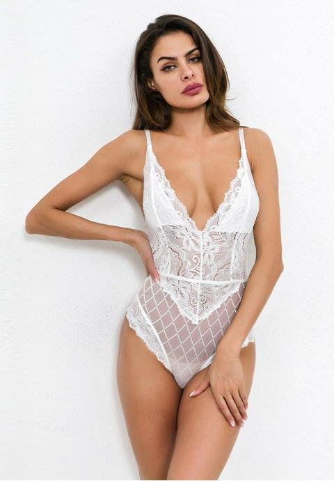 Sexy V-neck Embroidery Lace Teddy.