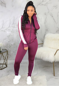 Women's Long Sleeve Zip Up Fitness Sport Striped Bodycon Sport Suit - Fashion Under Arrest