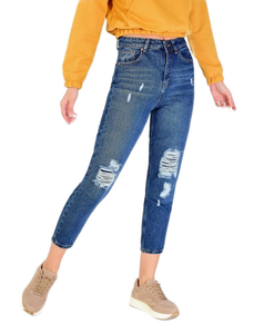 Women's Ripped Blue Jeans.