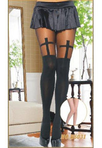 Black & Sheer Cross Pantyhose