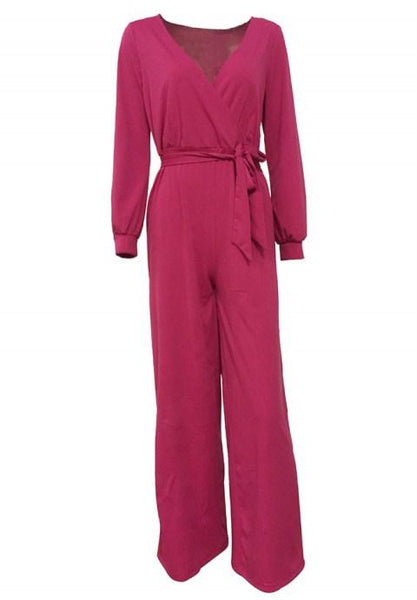 Long Sleeve Solid Jumpsuit With Belt.