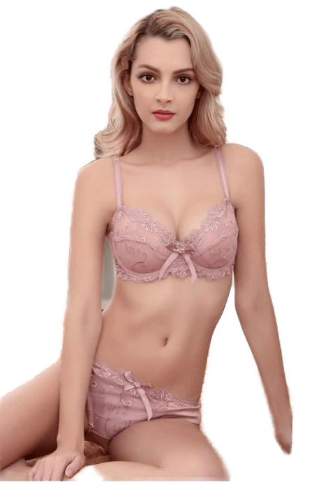 Cherub Pink Color Underwire Embroidery Lace Unlined Bra Set.