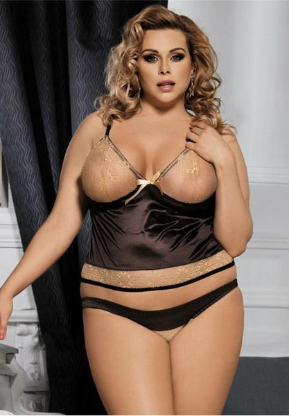Plus Size Brown Gored Lingerie - Fashion Under Arrest