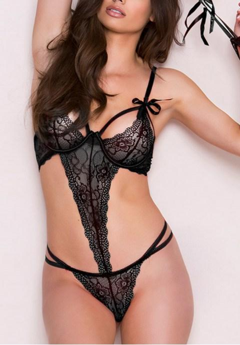 Love Affair Scalloped Lace Teddy Lingerie - Fashion Under Arrest