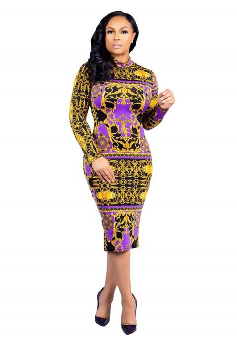 Women's Long Sleeve Vintage Bodycon Dresses
