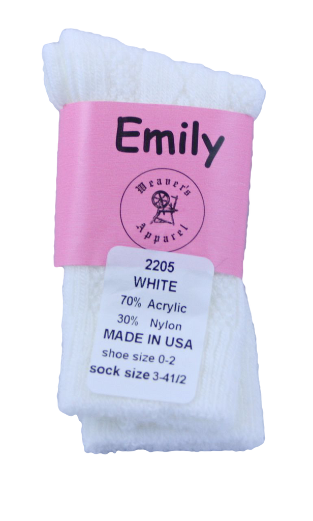 Emily girls' acrylic knee-high, diamond pattern, white.