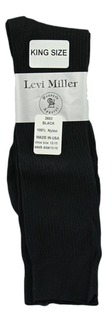 Levi Miller Nylon Ribbed Dress Sock--King Size