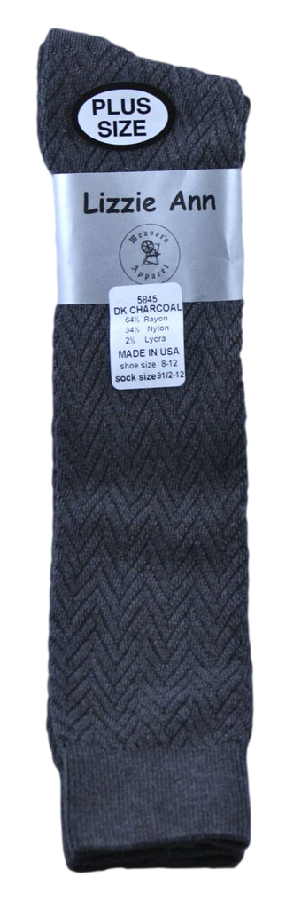 Lizzie Ann Women's Rayon Chevron Pattern Knee-High, Dark Charcoal, Plus Size 9 1/2-12