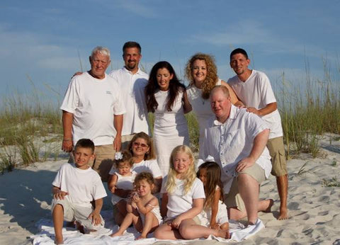 In 2013, Gulf Shores, Alabama, our hole family went. There was about 30 of us. It was so fun. This is our family, minus my oldest sister and her family.