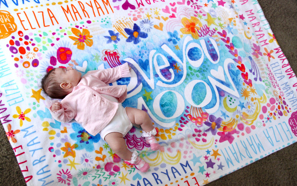 "Stephanie Corfee ""Love you to the Moon"" Blanket with Names"