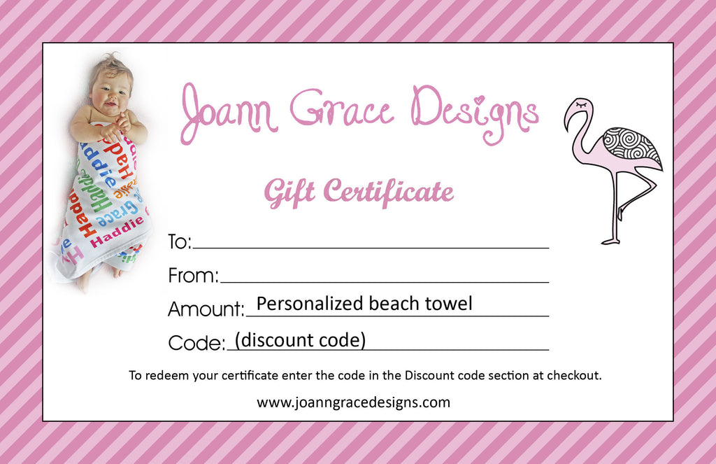 Gift Certificate for Beach Towel
