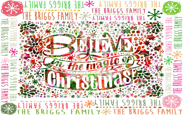 "Stephanie Corfee ""Believe Christmas"" Blanket with Names"