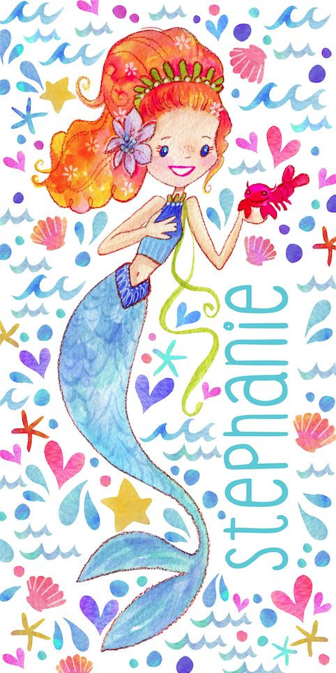 Stephanie Corfee Artist Mermaid Beach Towel-Radical Redhead