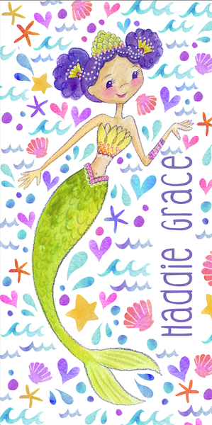 Stephanie Corfee Artist Mermaid Beach Towel-Cutie Curls